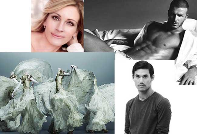 Clockwise from top left: Julia Roberts' Lancome ad; David Beckham; Joseph Altuzarra; Alexander McQueen exhibit. Photos: Lancome, Emporio Armani, Altuzarra and Metropolitan Museum of New York