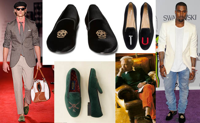 The trend for velvet slippers. Clockwise from left: A look from Michael Bastian spring 2012; Alexander McQueen slippers with skull motif from Mr. Porter; Screw U embroidered slippers from Stubbs & Wootton; Ralph Lauren and his slippers; riffle motif slippers from Rugby
