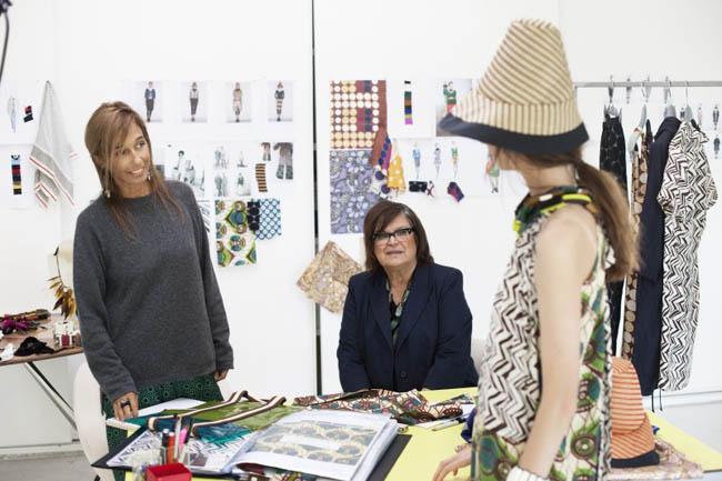 Marni Creative Director Consuelo Castiglioni and H&M's Margareta van den Bosch with a model wearing Marni