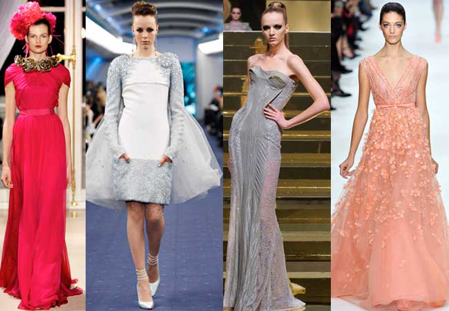 Couture spring 2012 from left: Giambattista Valli, Chanel, Atelier Versace, Valentino