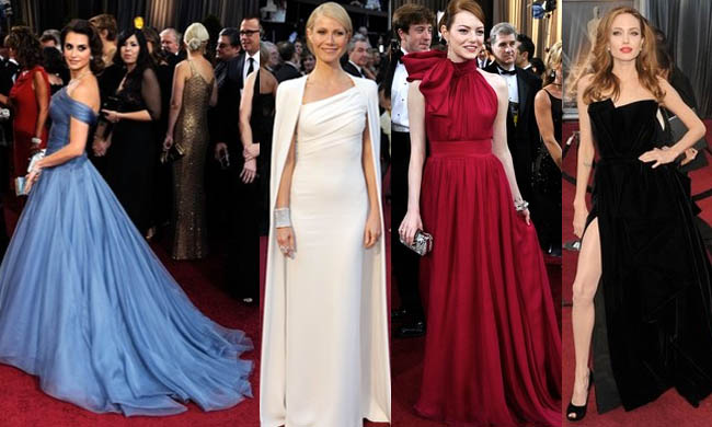 Oscars red carpet: Penelope Cruz in Armani prive, Gwyneth Paltrow in Tom Ford, Emma Stone in Giambattista Valli, and Angelina Jolie in Versace. Photos via Forbes/Daylife
