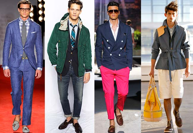 Spring looks from Michael Bastian, J. Crew, DSquared2, and Antonio Azzuolo. Photos from brands
