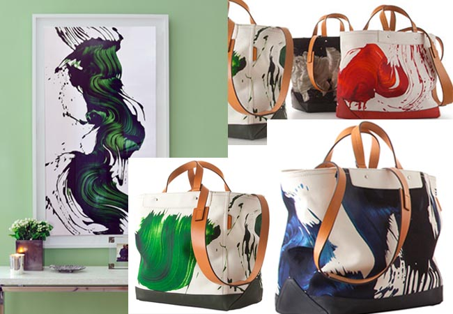 Coach And James Nares Collection bags. Left: Style Intel's James Nares artwork at home.