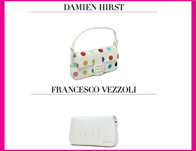Fendi Baguette bags reworked by Damien Hirst and Francesco Vezzoli. Photo: © FENDI BAGUETTE, Rizzoli New York, 2012
