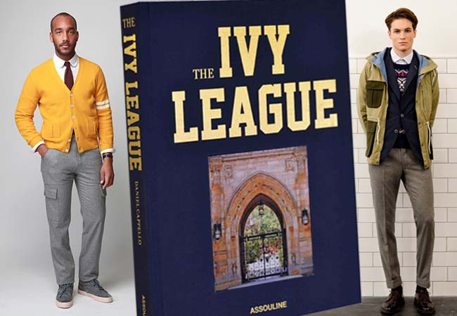 Assouline's The Ivy League book by Daniel Cappello flanked by fall 2012 looks from Ovadia & Sons (left) and Gant Rugger (right). Photos courtesy of Assouline and the brands