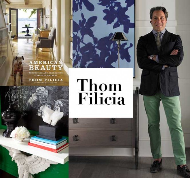 Thom Filicia and his new book XXXX plus a vignette from his design for Kips Bay Decorator Show House. Photos courtesy of Thom Filicia
