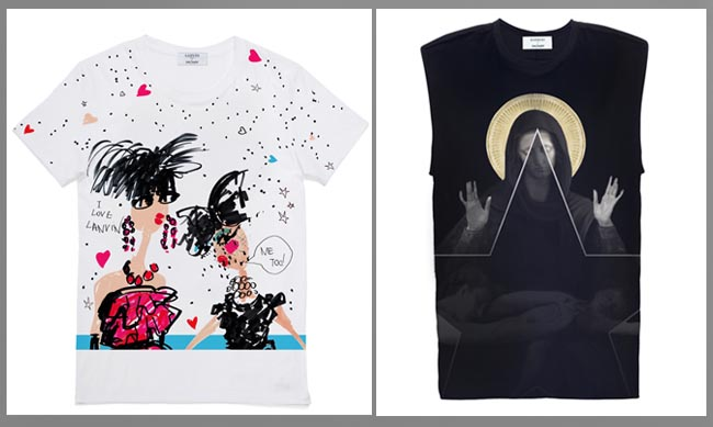 Lanvin (left) and Givenchy (right) T-shirts for Lane Crawford