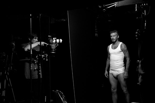 Backstage with David Beckham at his H&M shoot. Photo courtesy of H&M
