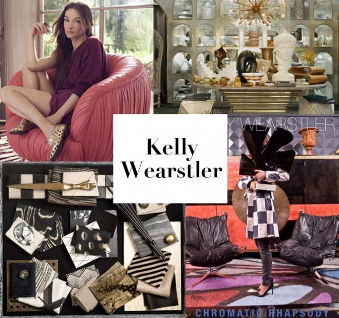 Clockwise from top left: Kelly Wearstler, the Kelly Wearstler boutique at Bergdorf Goodman, the decorator's new book Chromatic Rhapsody, and materials that inspire Wearstler